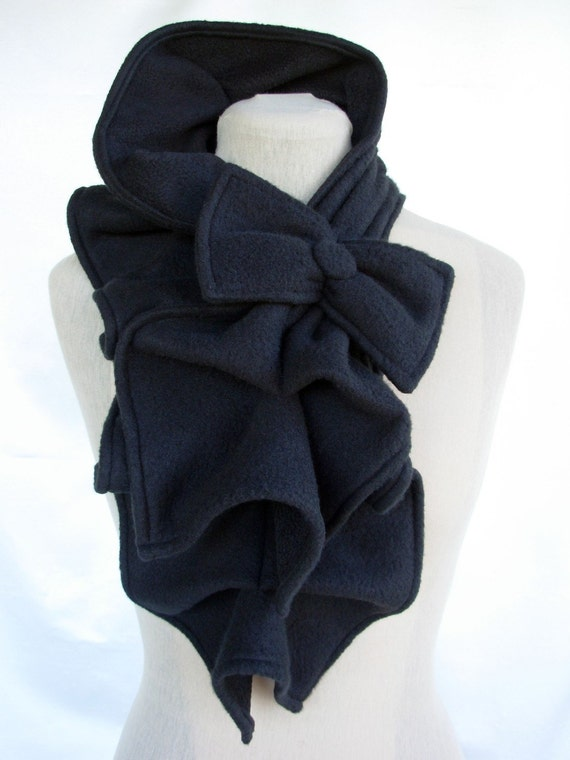 Ruffle Bow Scarf- Fleece -  Many colors and prints to choose from