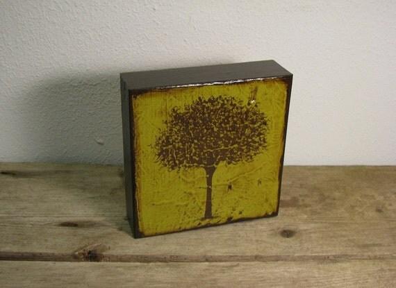 Green Tree Silhouette Art Block Painting---MatchBlox-1094