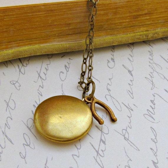 SALE Wishbone Necklace Locket Necklace Round Locket Necklace Memory Locket Photo Locket