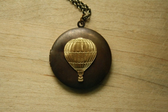 Long Hot Air Balloon Locket Necklace, Vintage Pendant, Large Air Balloon Locket