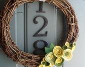 Grapevine Wreath Felt Handmade Door Wall Decoration - Greenbeans 12in