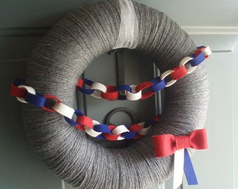 Yarn Wreath Handmade Front Door 4th of July Patriotic - True Colors 12in