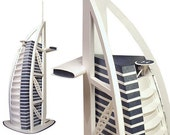 Burj al Arab, paper model kit of Dubai skyscraper hotel    height 13 inches = 33 cm    completely white or white with blue accents