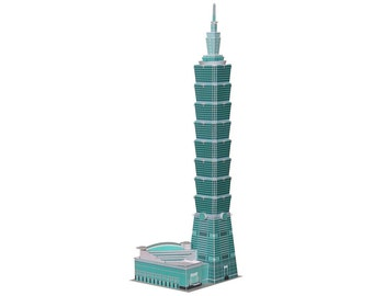 Taipei 101 Skyscraper || world's second tallest building || kit for making 20 inches tall paper scale model in full color