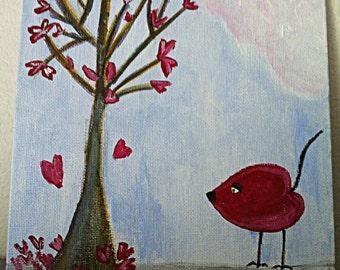 "Original Acrylic on 6x6 Canvas Panel - Painting Home Decor Artwork - Folk Art - ""Happy Hearts"""