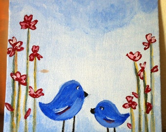 "Original Acrylic Painting on 6x6 Canvas Panel - Painting Home Decor Artwork - Folk Art - ""Happy Tweets"""