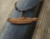 Vintage Brass Feather Necklace - Brasswing's Castoff