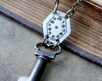 SALE - The Fundamentals - Skeleton Key and Watchface Necklace