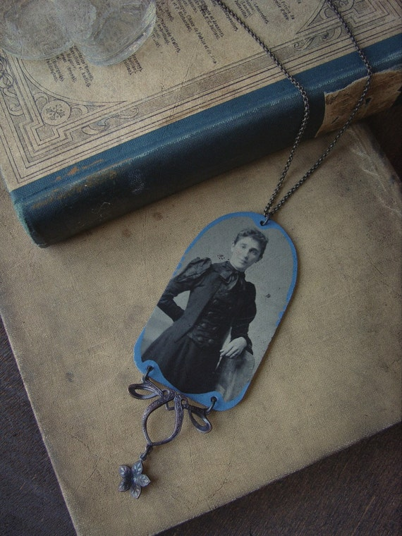Cornflower Blue Hand-painted Tintype Necklace - Caldonia Bleu