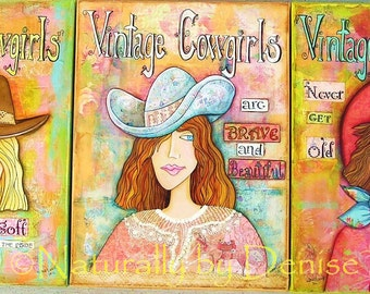 Vintage Cowgirls Set of three prints 12 X 16
