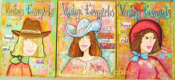Vintage Cowgirls , Mixed Media Collage Art, Set of three prints 9 X 12 each