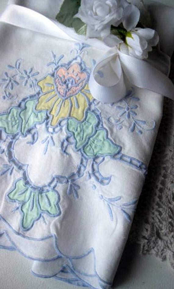 Pillowcase, Bedding, Cutwork, Applique, Cottage Charm, Shabby Cottage, Shabby Chic, by mailordervintage on etsy