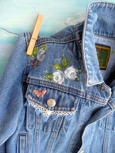 Denim Jacket Upscaled Toddler Painted One To Two Years