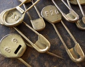 6- Vintage Laundry Pins Rare Brass Embossed Numbers on Marker Vintage Key Tag Safety Pins