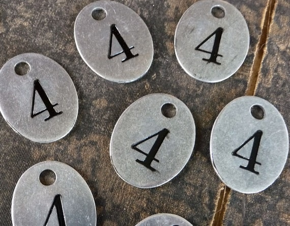 Number 4 TAG -- OVAL Primitive Shabby Numbered Tag Charm Finding