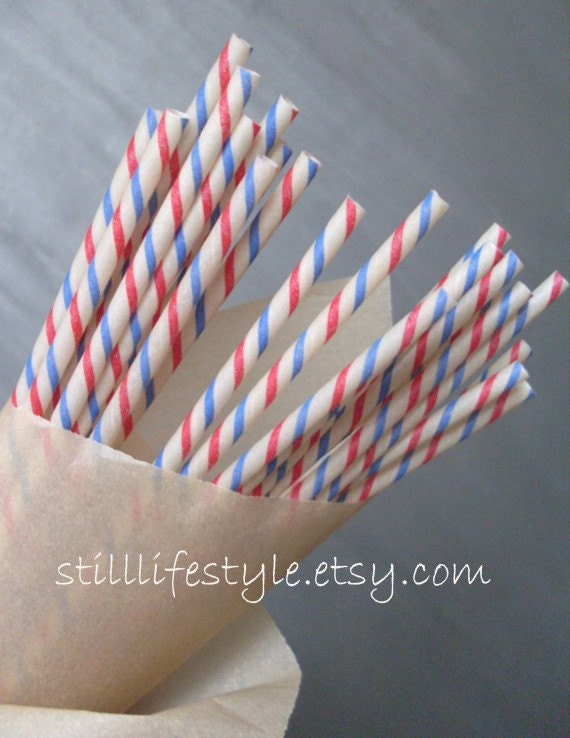 Vintage Paper Drinking Straws Red White Blue Stripes (10)