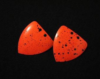 BIG Vintage Neon Orange and Black Paint Splattered Shield Pierced Earrings