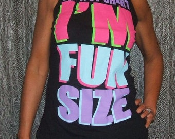 Halter Top, Large,  CLEARANCE 6.00! I'm Not Short I'm Fun Size Halter Top Upcycled T-Shirt Surgery Re-Purposed Recycled Black Size Large