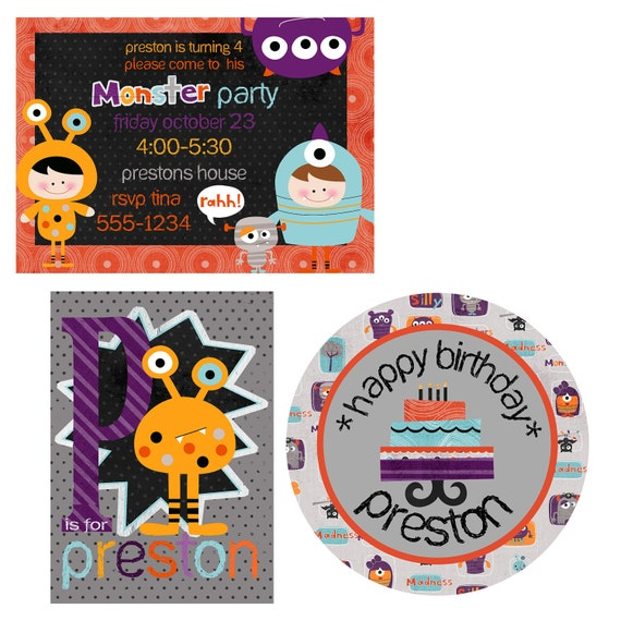 Halloween Party, Monster Party Printable Kit, Halloween Party, Birthday Printable Party Pack, Custom Invitations