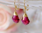 Ruby jewelry, Ruby earrings, July birthstone earrings, Gold filled earrings, Ruby crystal and Gold earrings