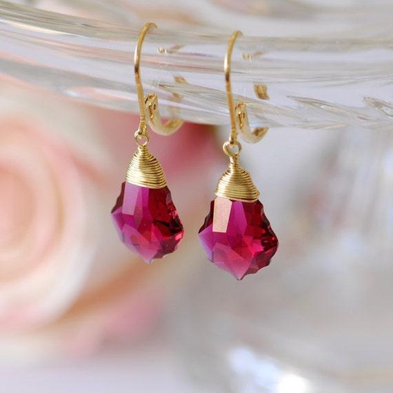 Ruby jewelry, Ruby earrings, July birthstone earrings, Gold filled earrings, Ruby crystal and Gold earrings