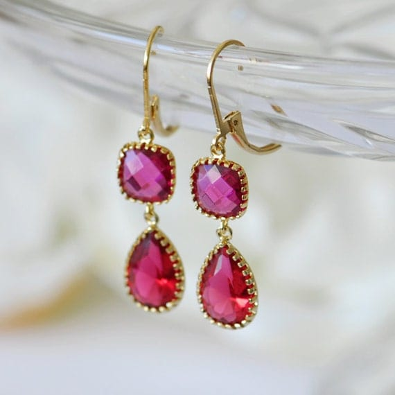 Ruby jewelry, Ruby earrings, July birthstone jewelry, Red ruby earrings, Ruby red birthstone, cancer birthstone, Red drop earrings, gold