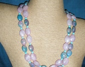 items similar to rose quartz double strand necklace with