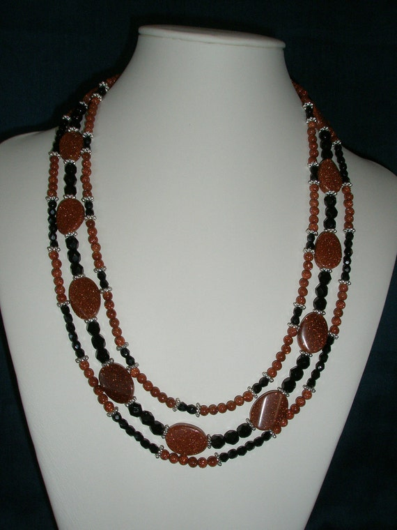 Brick and Black Triple Strand  Statement with  Goldstone Necklace, Fall Necklace,Rustic Wedding Classic Necklace, Country Wedding, Autumn.