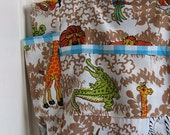 Life's A Zoo Upcycled Diaper Bag - Retro 1980's Safari Animals and Gingham Large Novelty Toddler / Baby Tote