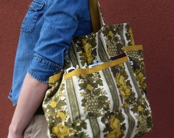 1970's Blooms Upcycled Large Weekender - Mid Century Avocado Mustard Floral Upholstery Linen - Teacher / Market / Diaper Bag - Eco Friendly