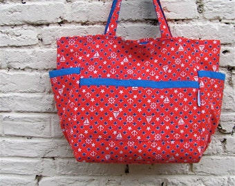 Hello Sailor Upcycled Shopper - Vintage Red White and Blue Nautical Print Large Market / Diaper Bag / Purse - Eco Friendly - Fun Summer Gift