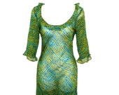 Size 4 - Sheer - Silk - Betsey Johnson - Ethereal - Designer - Turquoise - Yellow - Snakeskin - Dress - Ruffles - High Fashion