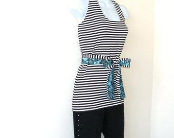 Halter Top - Black White Stripes - Cotton - Stretch Jersey - Tunic - France French Style - Classic Style - CHANTAL - Hand Made -  UNIQUE
