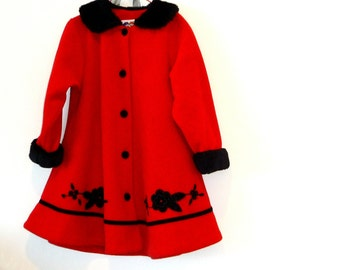 Girls Coat - Red Swing Coat - Floral Black Velvet - Size 4 - 90s - Swing - Recycled - Appliques - American Girl - UNIQUE