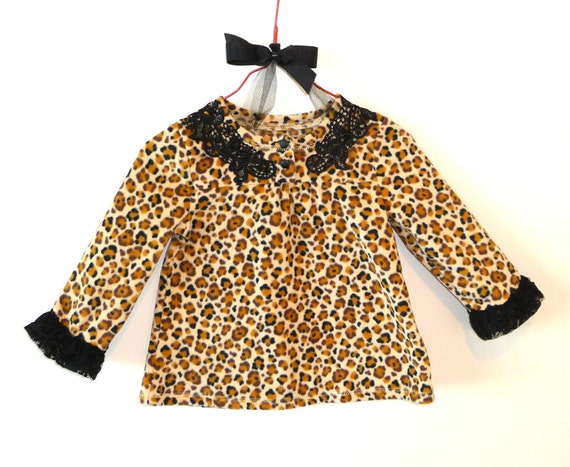 Leopard Print -  Toddler - Size 18 months -  Black Lace Details - Dress -Hip - Urban Chic - Recycled Eco Friendly - Black Lace