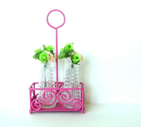 CURLICUE - Caddy - Metal - Kitchen - Sugar - Tea - Salt and Pepper - Upcycled - Bubblegum Pink -  Business Card Holder