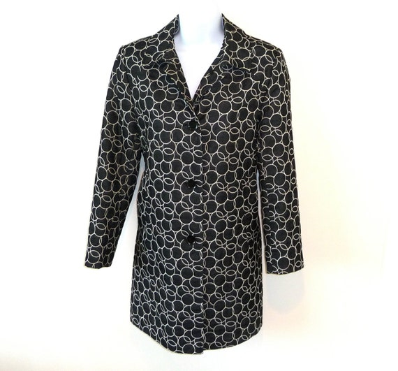 Jacket - White Circles on Black - Geometric - Calvin Klein - Lightweight - 60s Style - Outerwear - Recycled - UNIQUE - Classic - Size Small