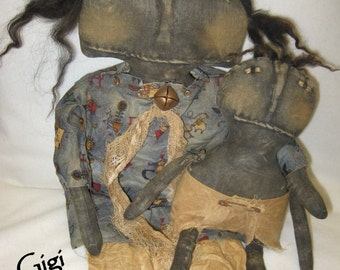 """Gigi and GooGoo 16"""" & 12"""" Primitive Black Doll and Baby IMMEDIATELY DOWNLOADABLE EPATTERN"""