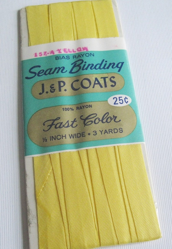 Vintage Yellow Bias Rayon Seam Binding Sewing Trim