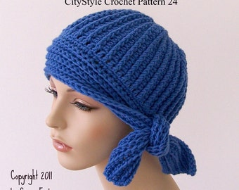Crochet Hat Pattern Flapper Style Cloche with Side Tie - Easy Crochet Hat Pattern - Women, Teen Girls - INSTANT DIGITAL DOWNLOAD - No. 24