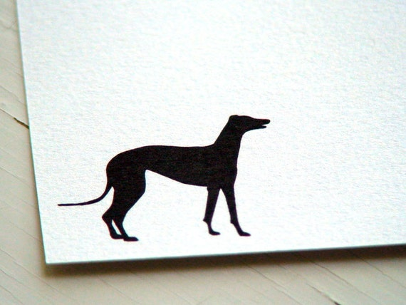 Personalized Stationery Set  - Greyhound Dog Flat Note Cards - Notecards - Thank You Notes - Silhouette