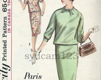 Vintage 1964 Two Piece Dress Pattern Slim Skirt Overblouse w Rolled Tie Collar Simplicity 5391 Bust 34