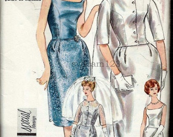 Vintage 1960s Wedding Suit or Dress Pattern Train on Collarless Jacket Knee or Ankle Length 1961 Vogue 4218 Bust 34