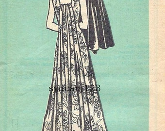 Vintage 1978 Princess Seamed Evening Gown Pattern Long Back Panel...Square Neck and Back 1970s Mail Order 9446 Bust 40 UNCUT