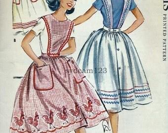 Vintage 1950s Back Button Pinafore Dress Pattern Detachable Button On Bib 1958 McCalls 2248 Bust 36 UNCUT