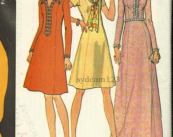 Vintage 1972 A Line Day or Maxi Dress V Neck Princess Seam Evening Gown 1970s McCalls 3417 Bust 36 UNCUT