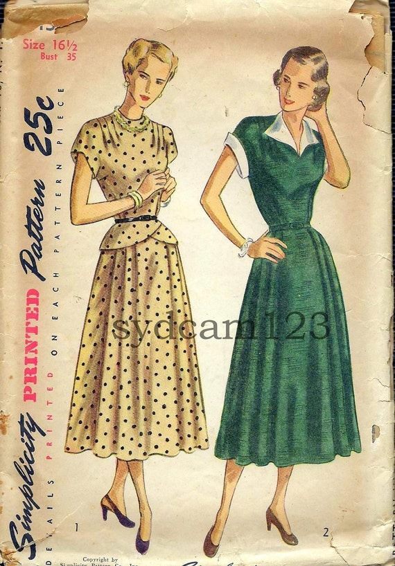 Vintage 1940s Shaped Peplum Dress Pattern Collarless or Detachable Collar and Cuffs 1948 Simplicity 2435 Bust 35
