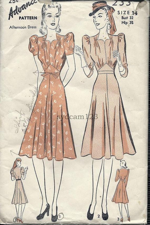 Vintage 1940s Sweetheart Neckline Dress Pattern Puff Sleeve Flared Skirt 1940 Advance 2336 Bust 32