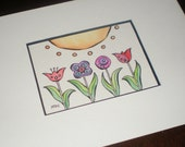 Variety ACEO watercolor original matted for 5x7""