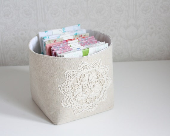 storage bin -linen and lace collection, small